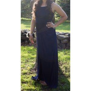 Navy Blue High Neck Prom Dress